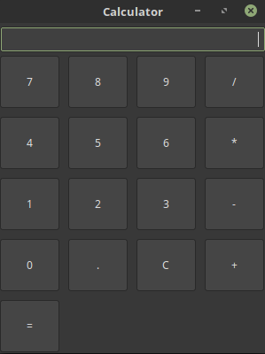 Calculator GUI window with buttons and actions